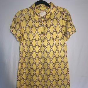 Kate spade dress Sz S linen silk blend pink yellow